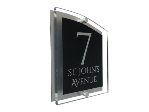 Arc Shape - Clear Acrylic House Sign - Black Colour with Silver text in Font  1